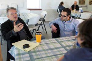 MFA faculty Wayne Beach and candidate Luis Zeron, photo © Mark Edward Dawson